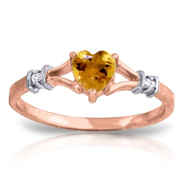 14K Rose Gold Rings with Diamonds & Citrine