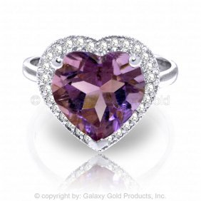 14k White Gold Ring With Diamonds & Heart Amethyst