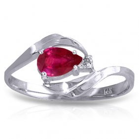 0.51 Carat Platinum Plated Sterling Silver Waves Ruby D