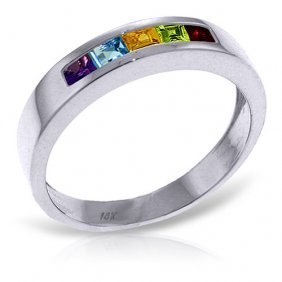 Platinum Plated Sterling Silver Rings With Natural Mult