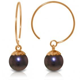 14k Rose Gold Circle Wire Earrings With Black Pearls