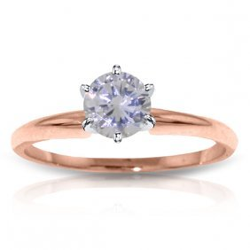 14k Rose Gold Solitaire Ring With 1.0 Ct. Si3, F-g Colo