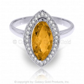 14k White Gold Ring With Diamonds & Marquis Citrine