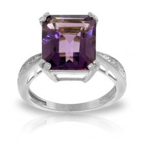 5.62 Ctw Platinum Plated Sterling Silver Ring Natural D