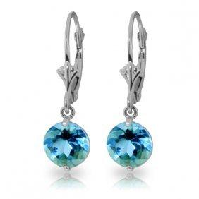 14k White Gold Grace Your Ear Blue Topaz Earrings