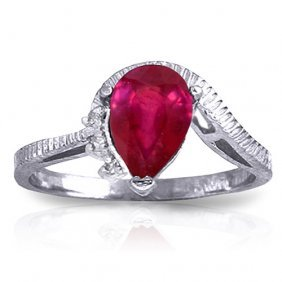 1.52 Ctw Platinum Plated Sterling Silver Azur Ruby Diam