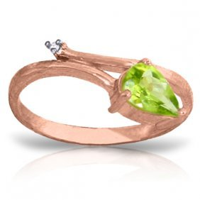 14k Rose Gold Snake Charm Peridot Diamond Ring