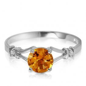 1.02 Carat Platinum Plated Sterling Silver Cathy Citrin