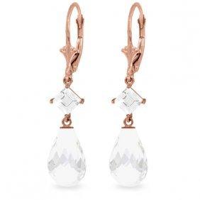 14k Rose Gold Lever Back Earrings With White Topaz