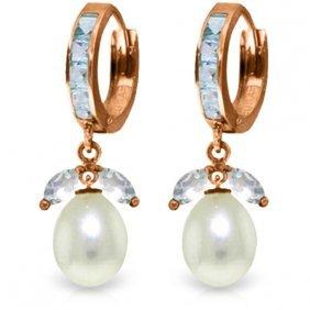 14k Rose Gold Majorca Aquamarine Pearl Earrings