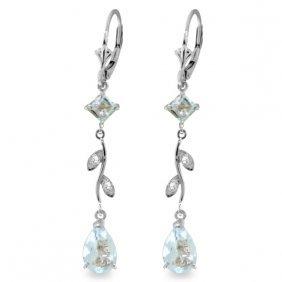 14k White Gold Chandeliers Earrings With Diamonds & Aqu