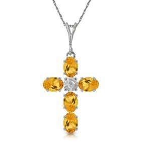 14k White Gold Cross Necklace With Diamond & Citrines