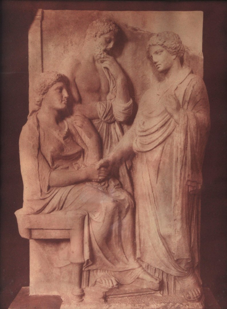 Ancient Relief Statue of Three Figures.