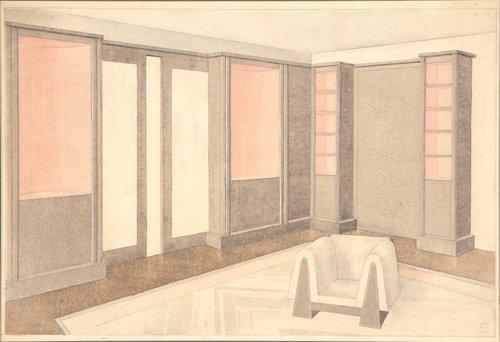 8: Ernest Boiceau (Swiss, 1881-1950) Interior Rendering