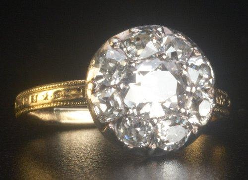 1: Georgian diamond cluster ring. Nine MC diamonds, cut