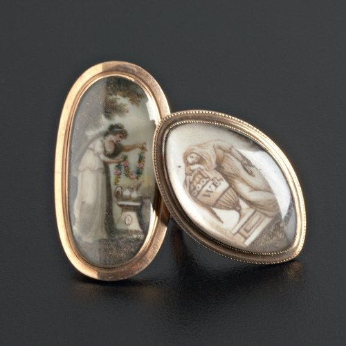 3: Two 18th C. mourning rings, painted and glazed ivory