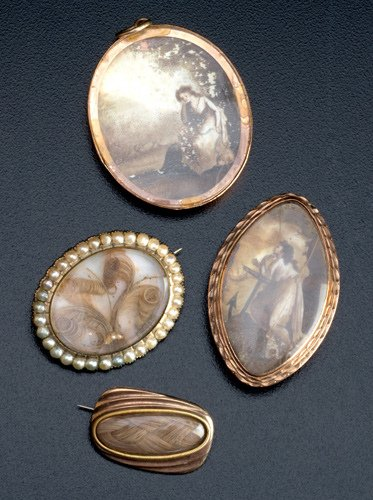 4: 18th and 19th C. mourning jewelry: two painted and g