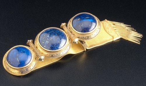 18: Greek Revival style 14k yg garter bracelet with lap