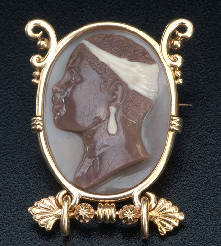 """19: Egyptian Revival agate cameo """"negress"""" brooch in 18"""