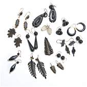 36: Thirteen pairs of Victorian mourning earrings, one