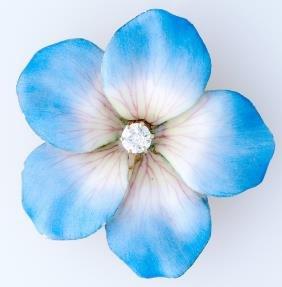 Diamond And Enamel Flower Brooch In 14k Yg With Hin
