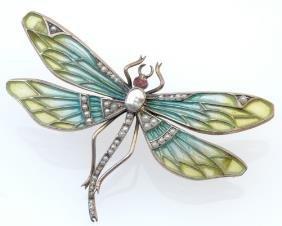 German Art Nouveau Dragonfly Brooch By Heinrich Lev