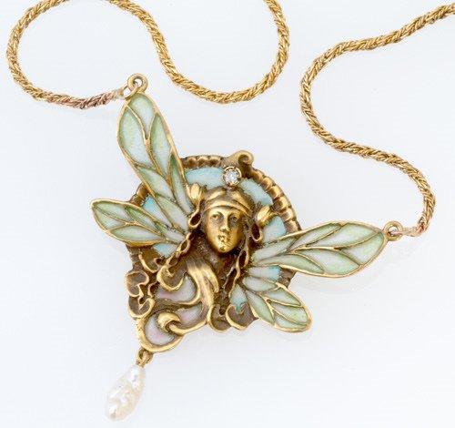 72: Dragonfly-woman necklace, plique-à-jour enamel
