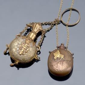 Two 19th C. Flasks As Adornment: Japanese Shikuda