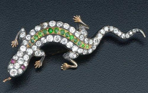 80: Art Nouveau salamander brooch with diamonds and dem