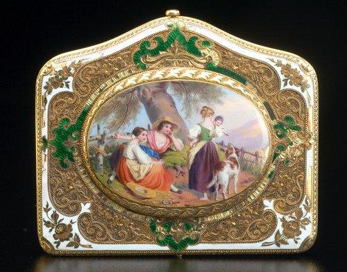 87: Rare Musy Turin presentation clock purse in enamel