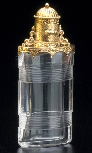 88: European gold and lead crystal perfume bottle, ca.