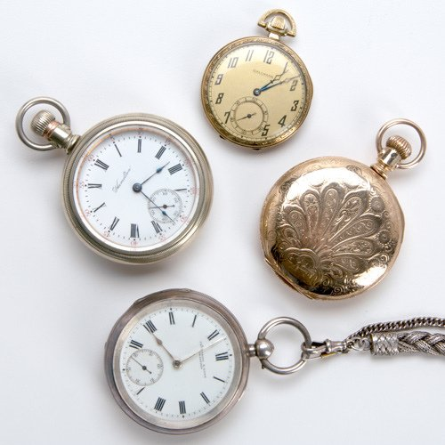 96: Four pocket watches, ca. 1880-1920: American Watch