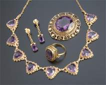 351 Amethyst 14k and 18k yg assembled suite