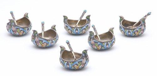 595: Six Maria Semenova salt dips and spoons