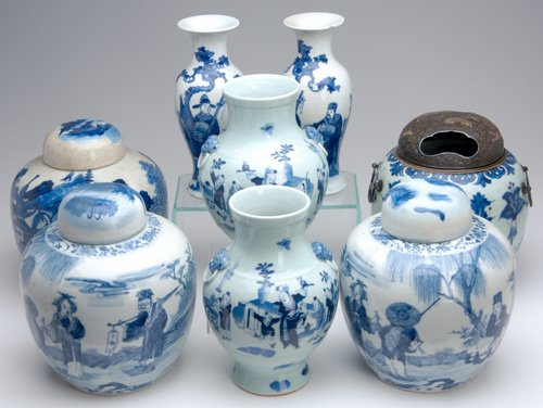 1015: CHINESE BLUE AND WHITE PORCELAIN Eight pieces: