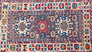 1136 KUBA Antique Caucasian rug in Lesghi star design