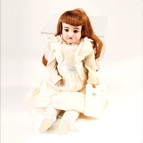 2: DEP (Germany) bisque head doll, with brown paperweig
