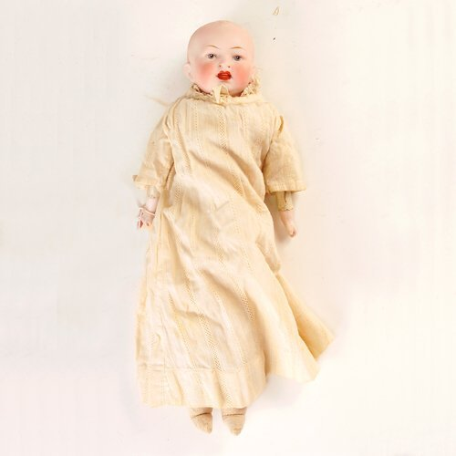 18: German doll with bisque head, painted features, ope
