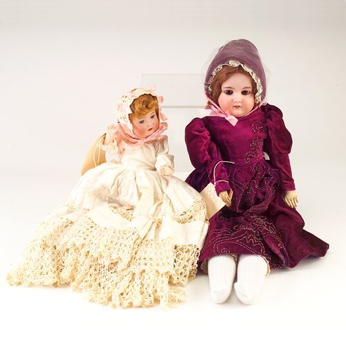 19: Two dolls: Morimuro Bros. (Japanese) bisque doll wi