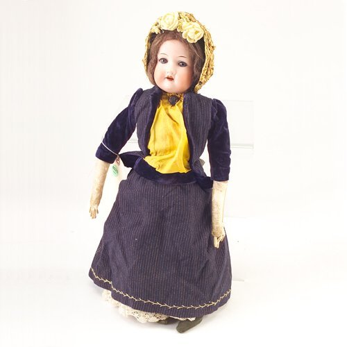 20: German bisque doll marked 370.A.3.OM with kid body