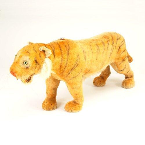 "132: Steiff Studio Tiger with roarer pull, 29 1/2"" x 94"