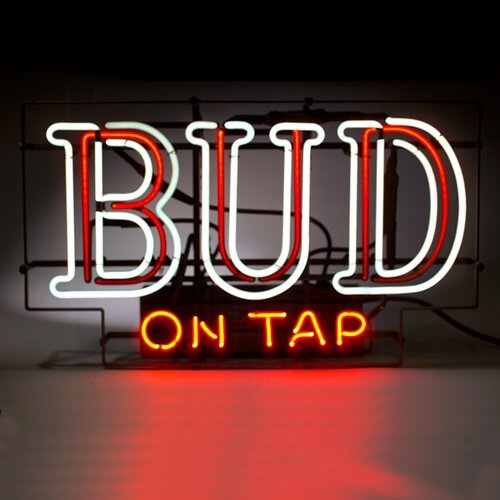 144: Neon sign: BUD ON TAP, vintage beer sign with bubb