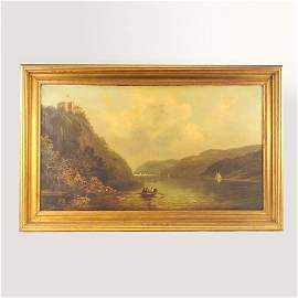 550: American School, 19th c. Up The Hudson, oil on can