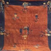 657: Chinese Art Deco room-size rug with cinnamon groun