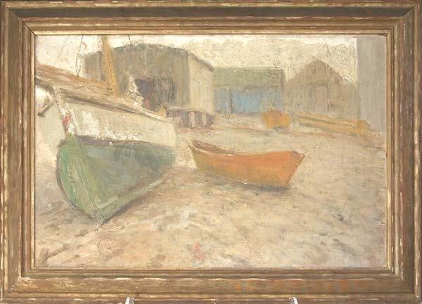 16: Bucks County Schoool, Untitled (Boats); Oil on canv