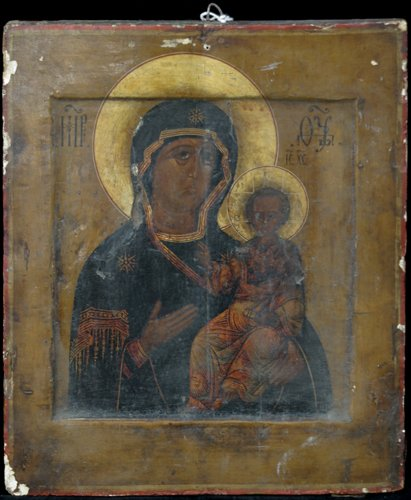 1: Russian Icon: Virgin and Child, painted wood panel;