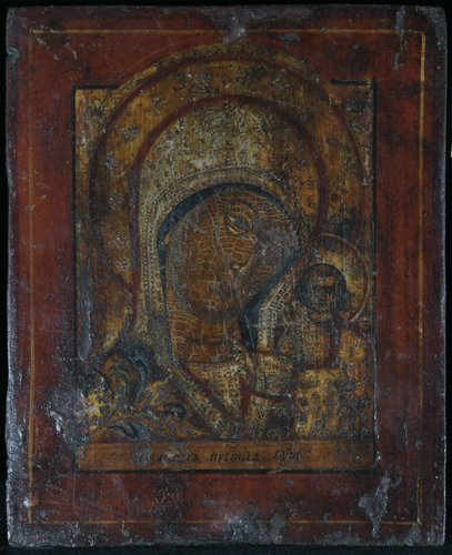 12: Russian Icon: Our Lady of Kazan, painted wood panel