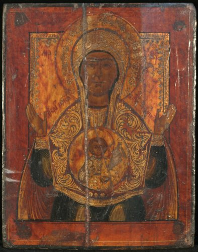 13: Russian Icon, Our Lady of the Sign, painted wood pa