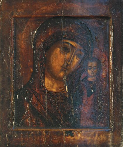 15: Russian Icon: Our Lady of Kazan, late 17th Century,