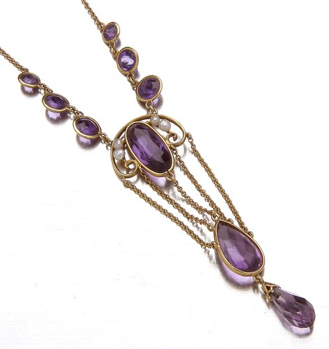 5: Art Nouveau amethyst and pearl necklace in 14K yello